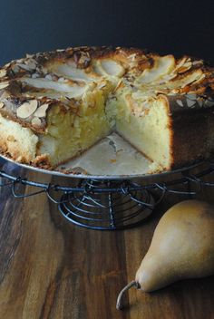 almond pear cake 4 pears, any kind, 3 for batter 1 for topping1 3/4 cups sugar plus additional 3 teaspoons1 tablespoon fresh lemon juice3 1/4 cups ground almond meal8 large eggs, room temp1 teaspoon, plus additional 1/4 teaspoon pure vanilla extract1 tablespoon honey1 tablespoon neutral tasting oil (like canola or grape seed)1/3 cup sliced almonds Pear And Almond Cake, Pear Cake, Almond Cakes, Almond Meal Cookies, Almond Meal Cake, Almond Flour Desserts, Pear Recipes, Almond Recipes, Cake Recipes