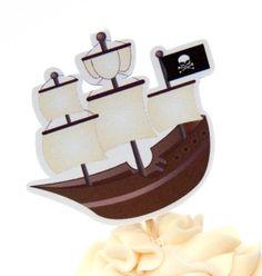 Pirate Party  Set of 12 Pirate Ship Cupcake by TheBirthdayHouse, $6.00