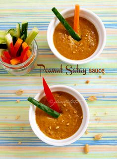 Peanut Satay Sauce - a good way to encourage children to eat crunchy vegetables. #food-4tots