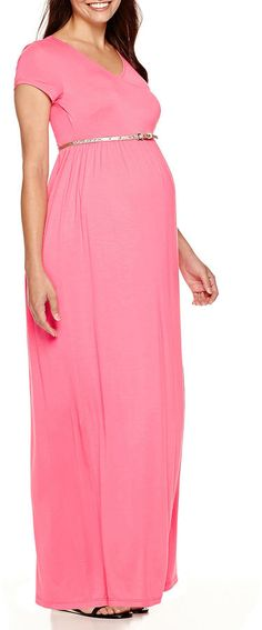 Asstd National Brand Maternity Short-Sleeve Surplice Maxi Dress with Glitter Belt