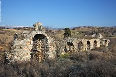 East Serres, Macedonia Greece - The silent ruins of Byzantine Zichni occupy a large area. Here, a small piece of