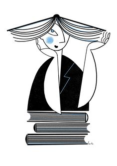Wall art illustration for book lovers. Black and white Giclée Ex Libris, Ecole Art, Black And White Wall Art, World Of Books, Book Lovers Gifts, I Love Books, Fashion Books, Cartoon Styles, Graphic Illustration
