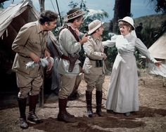 Frankie Howerd, Sidney James, Kenneth Connor and Joan Sims in Carry On Up The Jungle. 1970