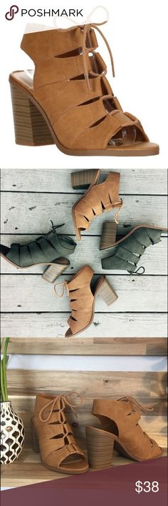 """🆕 Camel Lace up Block Heels New in Box. Limited sizing and availability, so don't wait! 3.5"""" heel. Price firm unless bundled, also available in green in separate listing in my closet. 💕 Shoes Heels"""