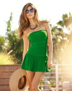 7514062dfa Shirred Bandeau One-Piece Swimsuit Dress Bandeau One Piece Swimsuit
