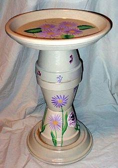 Hand-painted & built sunflower birdbath out of terracotta pots