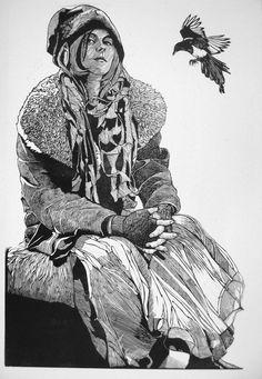 "Jacques Moiroud Linocut 'A Girl and a Bird"" -linocut- 24x36 inches"