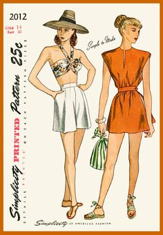 1940s 40s vintage swimsuit sewing pattern bikini bra shorts poncho beach bathing suit waist 26 w26 bust 32 b32 repro reproduction by LadyMarloweStudios on Etsy