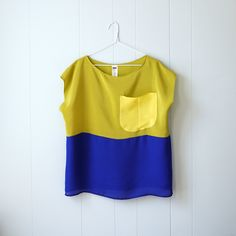 Hand dyed Silk top. Chartreuse, blue and yellow color block Tee - Custom sizing. via miss moss