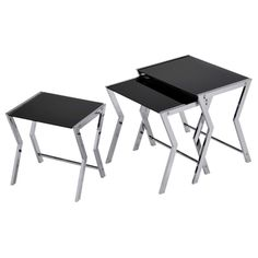 Could us this as a coffee table -Sigma 3-piece Chrome/ Black Glass Nesting Table Set