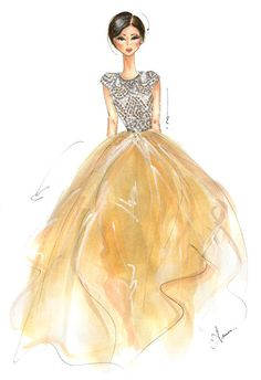 Fashion Illustration Print Naeem Khan FW13 by anumt on Etsy, $25.00
