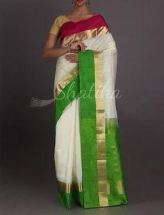 Keertana Ganga Jamuna Bordered Pristine #WeddingSilkSaree