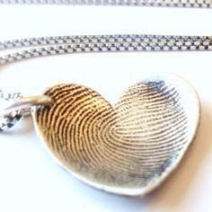 Awesome mother's day present: fingerprint heart pendant <3