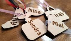 Pack of 10 personalised wooden tags, gift, favours girls party laser cut shapes birthday hens do lips bag perfume bottle stiletto diamond by Stylishmoments on Etsy