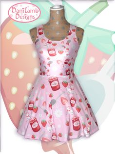 Kawaii Strawberry Dress Fairy Kei Strawberry Jam Lamb Daisies Flowers Skater Dress Pastel Sizes XS through sold by DaniLambDesigns. Shop more products from DaniLambDesigns on Storenvy, the home of independent small businesses all over the world. Strawberry Dress, Strawberry Jam, Galaxy Tights, Candy Dress, Patterned Tights, Pastel Fashion, Pink Dress, Pastel Dresses, Alternative Fashion