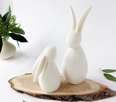 Contemporary needle felted bunny rabbits perfect for Easter gifts or decorations