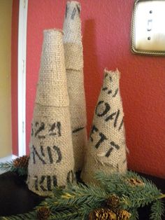 Burlap Chrismas Trees - or could use any cute fabric to match decor!