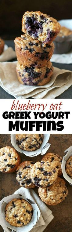 You wont find any butter or oil in these ridiculously soft and tender Blueberry Oat Greek Yogurt Muffins! What you will find is plenty of naturally sweetened, blueberry goodness in each bite! healthy_food_to_lose_weight, healthy_food, Healthy Muffins, Healthy Baking, Healthy Desserts, Breakfast Healthy, Breakfast Ideas, Breakfast Recipes, Healthy Recipes, Brunch Recipes, Healthy Food