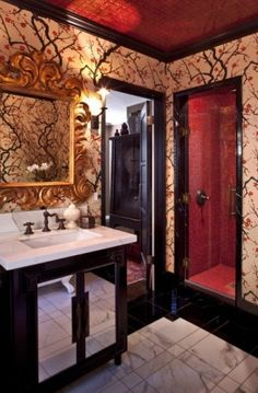 bit busy but I am drawn to it oddly enough.  must be the asian-esqueness of the room (cherry blossoms, shiny black trim and red accented tile and ceiling :)
