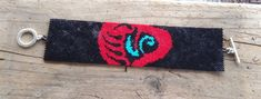 Southwestern Turquoise and Red Bear Paw Beaded by DoubleACreations