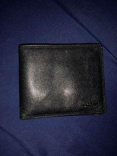 e1abb7e1b10 Fossil Men s Black Genuine Leather Wallet Photo ID Button Pouch Vintage   fashion  clothing