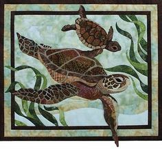 """Sea Turtles Pattern by Toni Whitney Design DIY Applique Quilting 17.75"""" x 20.5"""""""