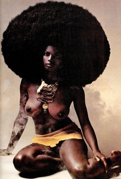 BIG BLACK AFRO on model dressed very 70's tribal. From Penthouse magazine 1970. (minkshmink)