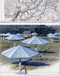 "Christo The Umbrellas (Project for Japan and Western USA) Collage 1987 in two parts 12 x 30 1/2"" and 26 1/4 x 30 1/2"" (30.5 x 77.5 cm and 66.7 x 77.5 cm) Pencil, charcoal, wax crayon, pastel, fabric and map"