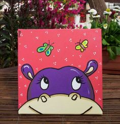 """Perky and spirited, """"Hypo"""" is a wondrous purple hippo who looks like she is gazing through the canvas like a window."""