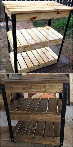 Thanks roxyandmax for this Astonishing Building a Floor Cabinet From Pallets Ideas.Pallets Woodworking Ideas Some of the old shipping wood pallet ideas are amazingly used for the shelving table stylish design work purposes too. Old Wood Table, Wood Pallet Tables, Wooden Pallets, Plastic Pallets, Old Wood Projects, Wooden Pallet Projects, Pallet Ideas, Woodworking Projects, Woodworking Bed