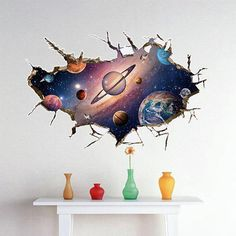 Buy Removable Planet Wall Sticker Waterproof Vinyl Art Mural Decal Universe Star Wall Paper For Kids Room Home Ceiling Decor . Cheap Wall Stickers, Removable Wall Stickers, Wall Decor Stickers, Wall Decals, 3d Wall, Floor Stickers, Window Stickers, Wall Art, Stickers Online