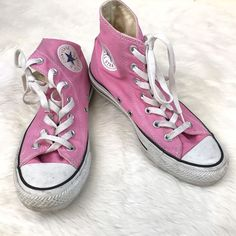 Women's Size 7 Converse All Star High Top Sneakers Shoes Lace Up Solid Pink  | eBay