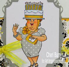 Art Impressions Rubber Stamps: Birthday Hat set! Copics Used: Skin: E00, E11, R20, RV17 Hair: E23 Yellows: Y21, Y26 Greys: C0, C1, C3