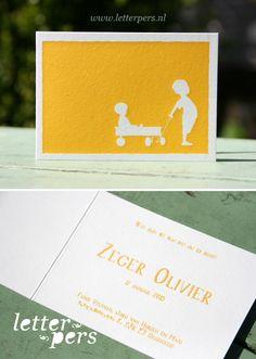 Letterpers_letterpress_geboortekaartje_Zeger_broertjes_karretje_klein_kaartje_lief_handgeschreven
