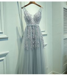 Long Prom Dress,Appliques Beaded Prom Dresses, V Neck Homecoming Dress,Graduation Dress for Party,Long Prom Gown by fancygirldress, $159.00 USD