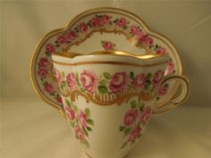 RARE ANTIQUE DRESDEN ROSES GILDED QAUTREFOIL CHOCOLATE CUP SAUCER CARL THIEME