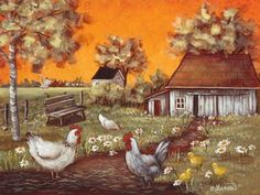 Farm Paintings, Chicken Painting, Perfect Peace, Cottage Art, One Stroke Painting, Mini Canvas Art, Garden Fountains, Landscape Art, Arts