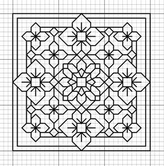 Blackwork - A good pattern if you only want to carry around a little. Motifs Blackwork, Blackwork Cross Stitch, Blackwork Embroidery, Paper Embroidery, Cross Stitching, Cross Stitch Embroidery, Embroidery Patterns, Folk Embroidery, Graph Paper Drawings
