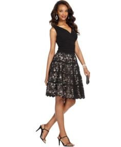 SL Fashions Dress, Sleeveless Ruched Lace A-Line | macys.com