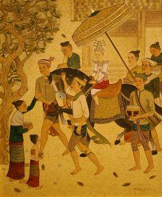Thai Lanna (วิถีไทยล้านนา) Thailand Art, Thai Traditional Dress, Northern Thailand, Collage Artwork, Thai Art, Thai Style, Post Card, Artist Painting, Asian Art