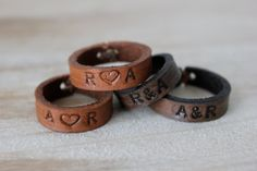 Custom Leather Rings Leather Ring, Leather Art, Custom Leather, Leather Earrings, Leather Cuffs, Leather Gloves, Leather Tooling, Leather Jewelry, Crea Cuir