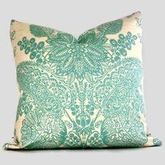 Lace pillow in sea foam green.