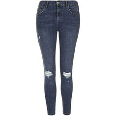 TOPSHOP PETITE MOTO Ripped Jamie Jeans (£49) ❤ liked on Polyvore featuring jeans, trousers, pants, petite, ripped jeans, mid stone, distressed jeans, high waisted distressed jeans, high-waisted skinny jeans and ripped skinny jeans