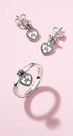 9d094c9de ... Valentines Day with this heartfelt jewellery pairing: a  padlock-inspired band ring and matching earrings crafted in sterling silver  with love. PANDORA