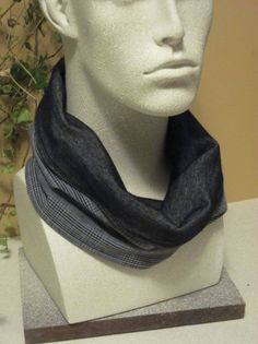 Mens Scarf in Black and Gray Glen Plaid by thimbledoodle on Etsy, $18.00