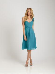 Short Chiffon Blue Bridesmaid Dress - - Keren Wedding dress