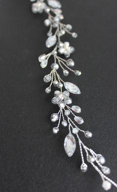 BUY | Wedding hair piece Silver Bridal headpiece Wedding hair accessories Crystal Hair Vine Wedding wreath Wedding hair jewelry Bridesmaid
