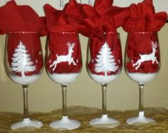 White Christmas shimmery reindeer and pine tree hand painted wine glasses