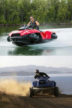 The Quadski is a four wheeler that transforms into a super fast jetski! - - The Quadski is a four wheeler that transforms into a super fast jetski! Half four-wheeler, half jet-ski, awesome and I& pretty sure I need this! Jet Ski, Hors Route, Four Wheelers, Catamaran, Outdoor Fun, Cars And Motorcycles, Motorbikes, Cool Cars, Dream Cars