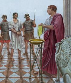 Pontius Pilate washing his hands by Michael Welply Historical Art, Historical Pictures, Ancient Rome, Ancient History, Roman Drawings, Pontius Pilate, Roman Era, Jesus Painting, Bible Pictures